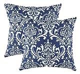 TreeWool - Pack de 2 - Damasco Acento Decorativo Fundas de cojín, 100% algodón (45 x 45 cm / 18 x 18 Pulgadas, Azul Marino)
