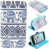 Angelina(TM) iPhone 5 Case / iPhone 5S Case - Hot Selling Fashion Cute Elephant Magnetic Flip PU Leather Wallet Card Slot Stand Case Cover for iPhone 5 5S