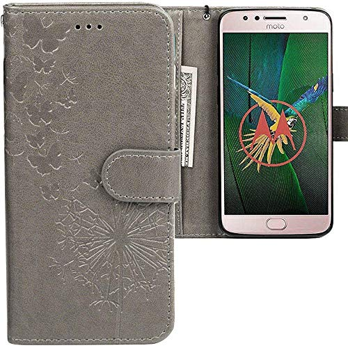 CLM-Tech kompatibel mit Motorola Moto G5S Plus Hülle, PU Leder-Tasche mit Stand, Kartenfächern, Lederhülle Kunstleder, Schmetterlinge Pusteblume grau
