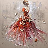 DIY 5D Diamant Malerei nach Anzahl Kit für Erwachsene, rot Schmetterling Brautkleid Voll Bohrer Diamant Stickerei Kit Home Wall Decor- 40 * 40 cm zurück Mädchen