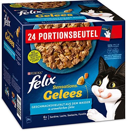 Felix Katzennassfutter Sensations Gelees Geschmacksvielfalt aus dem Wasser, 4er Pack (4 x 24 x 85g) Portionsbeutel