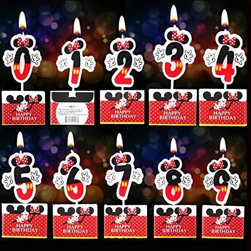 key Maus Geburtstagskerzen Zahlenkerze 0-9 für Kindergeburtstag Geburtstag Party Numeral Birthday Candle Kuchen Deko ()