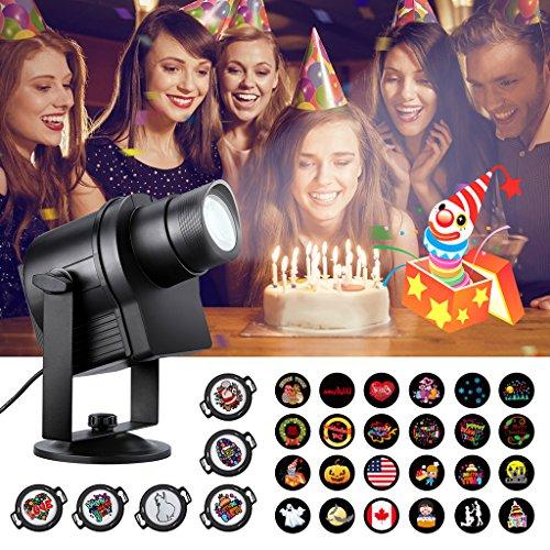 nslampe, Außen LED Party Licht Projektor Lampe 6 HD Gobos 24 Muster für Party Festival Innen Außen (Outdoor-halloween-projektor)