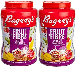 Bagrry's Fruit N Fibre Muesli, Mixed Fruit, Jar-Pack of 2