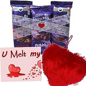 Maalpani Chocolate Trio - Cadburry Silk Hamper With Soft Cusion