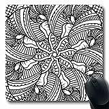 Luancrop Mousepads Libro Americano Nero Bianco Motivo Henné Etnico Bordo della Mano Adulto Natura Paisley Terapia Astratto Antiscivolo Gioco Tappetino per Mouse Tappetino in Gomma