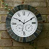 """About Time Slate Effect Garden Outdoor Wall Clock with Thermometer and Hygrometer - 35.5cm (14"""") (Kitchen & Home)"""
