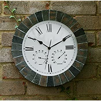 "About Time Slate Effect Garden Outdoor Wall Clock with Thermometer and Hygrometer - 35.5cm (14"")"
