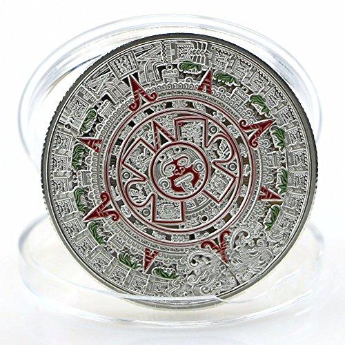 AmaMary Maya Gedenkmünzen, Mexikanischer Maya Kalender Gold überzog Gedenkmünzsammlung (Silber) -