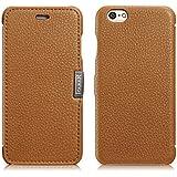 Luxus Tasche für Apple iPhone 6 (4.7 Zoll) / Case Außenseite aus Echt-Leder / Innenseite aus Textil / Schutz-Hülle seitlich aufklappbar / ultra-slim Cover / Farbe: Hell-Braun