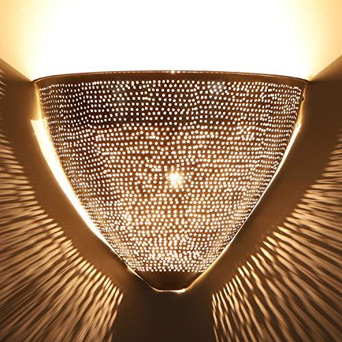 Orientalische Wandlampe marokkanische Wandleuchte Damla H 19,5 x B 25,5 cm Silber   Echt versilberte Messing-Lampe   Kunsthandwerk aus Marrakesch   Schöne orientalische Dekoration   AWL910