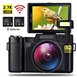 AMKOV CD-R2 - Digitalkamera Vlogging Kamera mit 2 Akkus, 2,7K Auflösung, 24MP 1080P WiFi Camcorder, 4X Digitalzoom, 3...