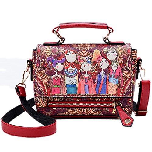 Sac d'épaule Pour Filles Mode Femme imprimé Sacs à main Rouge