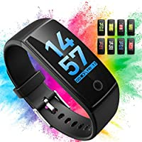 "Activity Tracker, OMORC Orologio Fitness Tracker 0.96"" Schermo Colori Puoi Collegato con GPS nel Cellulare Contapassi Cardiofrequenzimetro da Polso Braccialetto Sport Impermeabile Smart Watch, Pedometro, Calorie, Bracciale Notifiche, Distanza, Monitor del Sonno, Countdown Smartwatch Donna Uomo Fit Watch per iOS Android, Nero"