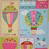 Baumwollstoff - Ballonfahrt - Stoff pink, hellrosa, orange,