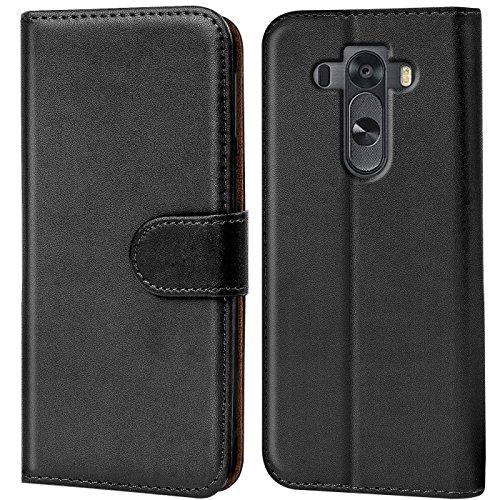 Verco G3S Hülle, Handyhülle für LG G3 S Tasche PU Leder Flip Case Brieftasche - Schwarz