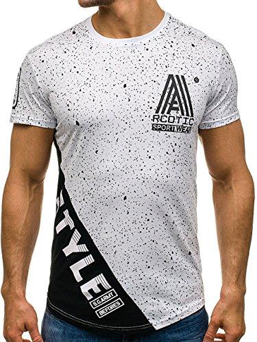 BOLF Herren T-Shirt Tee Kurzarm Rundhals Sommer Slim Fit Print Classic 3C3 Motiv Weiß