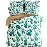 JYD Bettwäsche Bettbezug-Set Baumwolle Klein Frisch Grün Pflanze Banane Blatt Drucken Persönlichkeit 4 Stück 1*Bettdeckenbezug +1*Bettlaken +2*Kopfkissenbezüge,1.8M