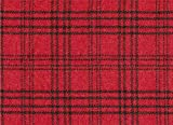 Scotch Tweed Stoff, Meterware, 100% Schurwolle, rot-schwarz