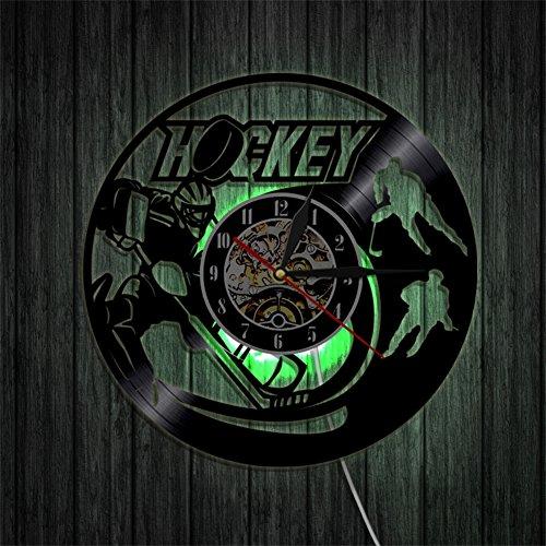 OOFAY Clock@ Wanduhr aus Vinyl Schallplattenuhr Upcycling 3D Familien Dekoration Eishockey-Szene Wand-Deko Vintage LED mit Fernbedienung/Durchmesser 30 cm