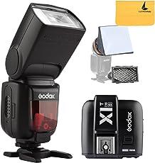 GODOX TT685S TTL Flash 2.4G HSS 1/8000s GN60 Fotocamera Flash + X1T-S TTL Wireless Trigger Flash Speedlite Kit per Sony a77II a7RII a58 a99 ecc Camera + LETWING Lenti Panno (TT685S + X1T-S)