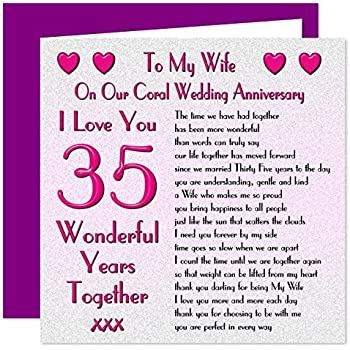 My Husband 35th Wedding Anniversary Card On Our Coral