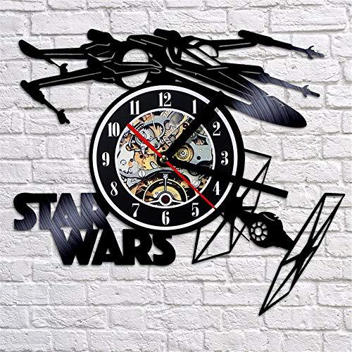 gjdm Wanduhren,Uhren,Wecker Star Wars Modernes Design Flugzeug Thema Retro-Stil Vinyl Record Watch 3D Ative Hängen Kann Gut Dekorieren Home Office Kaffee Bar Hotel (Wars Bar-thema Star)