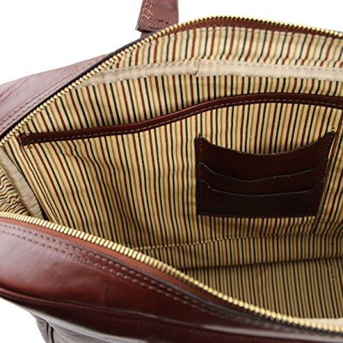 Tuscany Leather Urbino - Notebook-Aktentasche aus Leder mit Vorderfach Braun Lederaktentaschen Rot