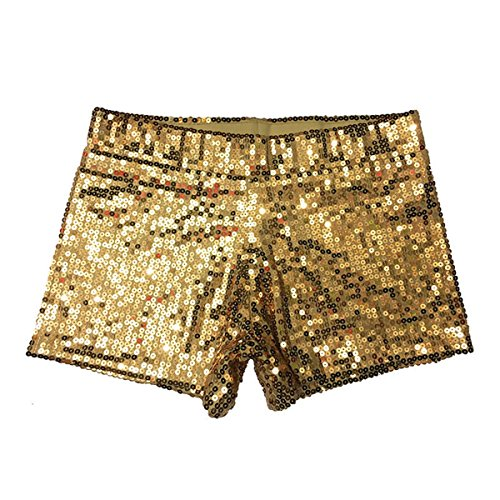 Babyicon Damen Sexy Sequins Shorts Hot Hosen Tanz Hip Hop Jazz Sänger Nachtclub (L, Gold)