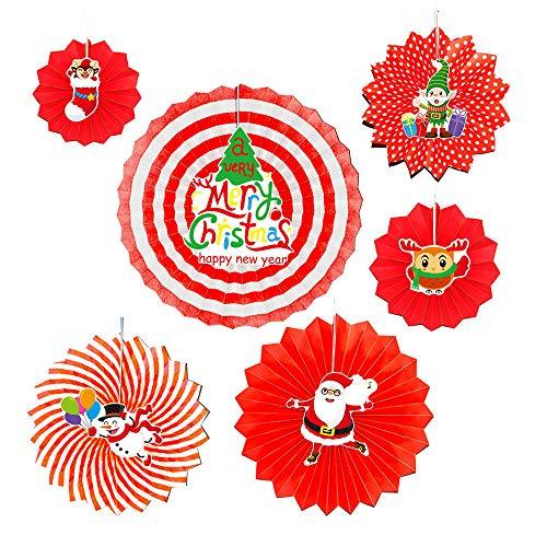-teilig Hängend Papierfächer Fächer DIY Kostüm Weihnachtsfeier Fancy Xmas Santa Home Decorations(Rot-2,6 pcs) ()