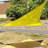 Triangle étanche Pare-soleil Jardin cour Voile d'ombrage pour camping tente de pique-nique avec corde, jaune