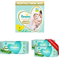 Pampers Premium Care Pants Diapers, Small (140 Count) & Pampers Aloe Vera Baby Wipes - 72 Count (Pack of 3)