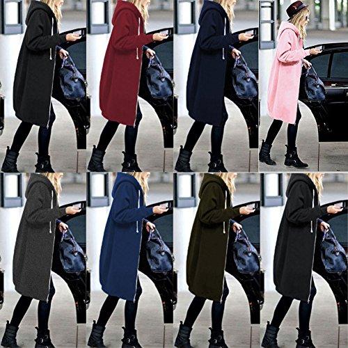 Minetom Donna Autunno e Inverno Felpa con Cappuccio Zip Oversized Maniche Lunghe Giacca Cappotto Sweatshirt Hoodie Hoody Felpata Grigio scuro