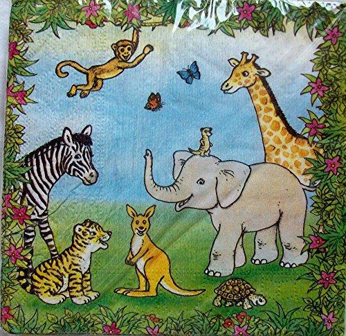 20 Servietten * WILDTIERE * für Kindergeburtstage oder Motto-Partys // Geburtstag Party Napkins Safari Mottoparty Kinder Geburtstag