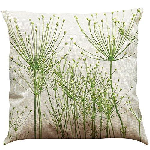 MStar Frühling Grün gedruckt Muster Kissenbezug 45X45cm Leinen-Baumwoll atmungsaktiv Kissenhülle Kopfkissenbezug