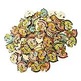 MagiDeal Knöpfe für Kinder Tier Knopf Holz Kinderknöpfe 2 Löcher Mix Farben Scrapbooking 100 Stück