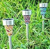 Sonnen LED Licht,Mosaik Solar Garten Lichter,Freienrasenlampe, Blau, Orange, Lila, 3-er Pack