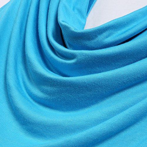 Meaneor Damen Shirt 2 in 1 Naht Wasserfallausschnitt T-Shirt Ärmellos Loose Fit Tunika aus Stretch Material Hellblau