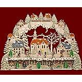 """XL LED - Schwibbogen Lichterbogen Leuchter """"Kirche, Kinder, Schneemann"""" aus Holz mit Podest / Unterstellbank ca. 64 cm breit inklusive Trafo Weihnachten Advent Geschenk (93553)"""