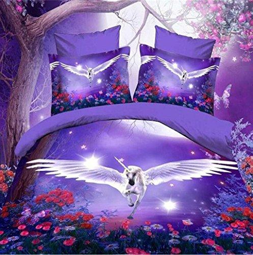 GHFDSJHSD 3D-Effekt Bettwäsche Komplettset Bettbezug-Set 4 Stück Anzug Schmetterling Fliege Gedruckt auf Polyester Doppelbettbezug Spannbettuch 2 Kissenbezüge Geeignet für einzelnes Doppelbett, E -