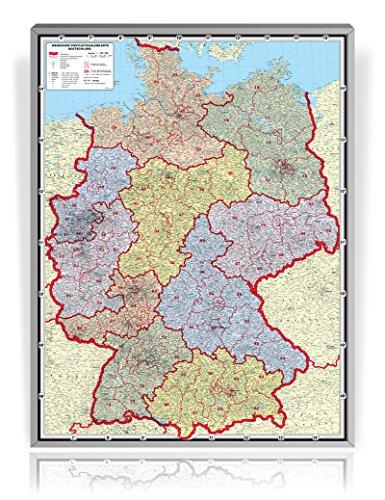 XXL Postleitzahlenkarte Deutschland (Edition 2016) - Pinnwand, laminiert (beschreib- und abwaschbar), im Alurahmen gerahmt silber matt