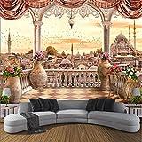 Mbwlkj Benutzerdefinierte Moderne 3D-Hochwertige Vlies Wandbild Tapeten Balkon Landschaft 3D Fernseher Sofa Wohnzimmer Hintergrund Home Decor-350Cmx245Cm