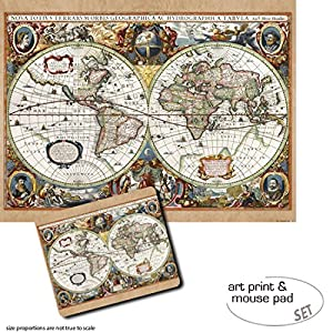 Set Regalo: 1 Póster Impresión Artística (80×60 cm) + 1 Alfombrilla para Ratón (23×19 cm) – Mapas Históricos, Carta del Mundo, Nova Totius Terrarum, 1630