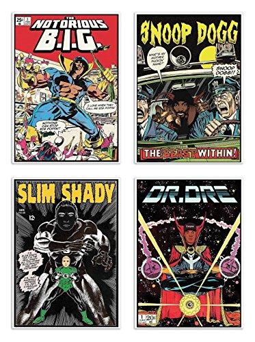 4 Art-Posters 20 x 30 cm - Rappers Comics - David Redon Hiphop-comic