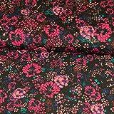 Stoffe Werning Feincord Blumen Pink Kinderstoffe Blümchen