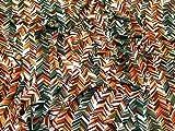 Chevron Print Stretch Jersey Knit Kleid Stoff Rost & Grün–Meterware