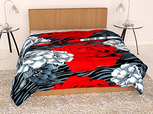 Story@Home Feather Touch Floral Microfibre Single Quilt - Red