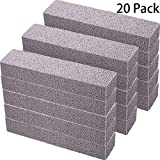 Norme 20 Pack Pumice Stones for Cleaning - 20 Pack Pumice Scouring Pad, Grey Pumice Stick Cleaner for Removing Toilet Bowl Ring, Bath, Household, Kitchen, Pool, 5.9 x 1.4 x 0.9 Inch