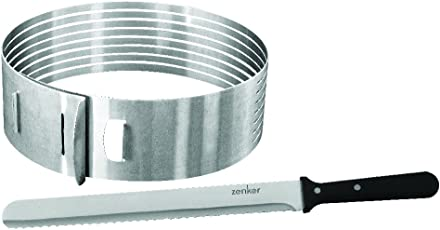 Zenker 7704 Tortenboden-Schneidhilfe mit Konditor-/Glasurmesser, patisserie