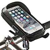 Waterproof Bike Bicycle Phone Mount Holder with Water Resistant Cycling Frame Bag Transparent Touchable Pouch Case 360 Degrees Rotatable For Smartphone, Mobile Phone, Sat Nav, GPS Mount /For 6 Inchs iPhone 6 Plus 6S 7S Plus, Samsung Galaxy S4 S5 S6 S7 S8 Plus Sony Xperia Z3 Z4 Z5 Plus 3 ZTE Axon 7 LG G5 G6 G4 Honor 8